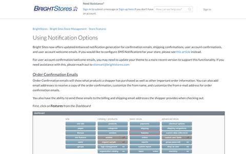 Screenshot of Support Page brightstores.com - Using Notification Options - BrightStores Support - captured Jan. 2, 2020