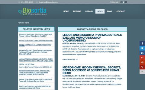 Screenshot of Press Page biosortia.com - News - Biosortia PharmaceuticalsBiosortia Pharmaceuticals - captured Nov. 13, 2018