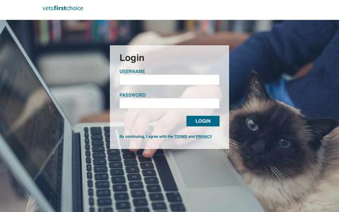 Screenshot of Login Page vetsfirstchoice.com captured May 26, 2018