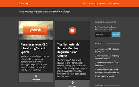 Screenshot of Blog yobetit.com - Sports Arbitrage Trading and surebet information from Yobetit - captured Jan. 12, 2016