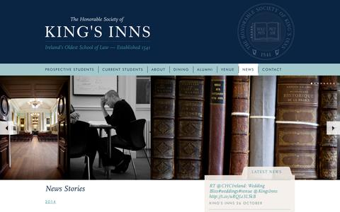 Screenshot of Press Page kingsinns.ie - News Stories - The Honorable Society of King's Inns. - captured Oct. 27, 2014