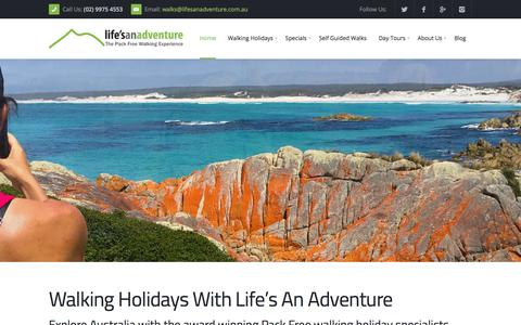 Screenshot of Home Page lifesanadventure.com.au - Walking Holidays Australia | Guided Walking Tours - Life's An Adventure - captured July 19, 2018