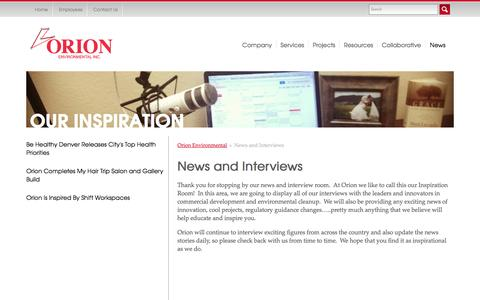 Screenshot of Press Page orionsvcs.com - News and Interviews - Orion Environmental - captured Oct. 26, 2014