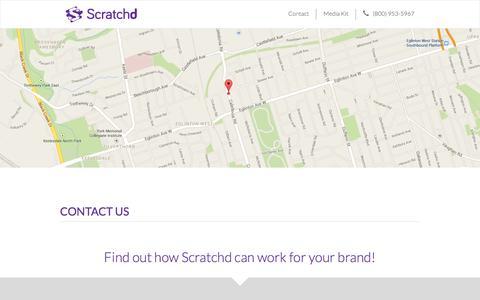 Screenshot of Contact Page scratchd.ca - Scratchd Inc. | Digital Scratch & Win - captured Feb. 3, 2016