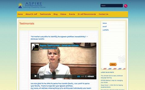 Screenshot of Testimonials Page aspireinterventions.com - Testimonials | Aspire InterventionsAspire Interventions - captured Oct. 4, 2014