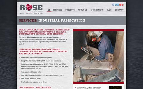 Screenshot of Services Page therosecorp.com - Services: Fabrication - The Rose Corporation - captured Oct. 20, 2018