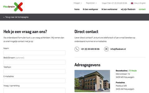 Screenshot of Contact Page flexbrain.nl - Contact | Flexbrain - captured Oct. 14, 2017