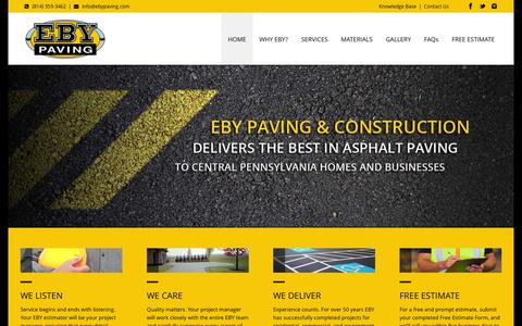 Screenshot of Home Page ebypaving.com - EBY Paving | Paving Contractors | State College, PA - captured Sept. 26, 2014