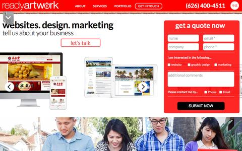 Screenshot of Home Page readyartwork.com - Website Design & Social Media Company in Los Angeles | Ready Artwork - captured Oct. 2, 2015