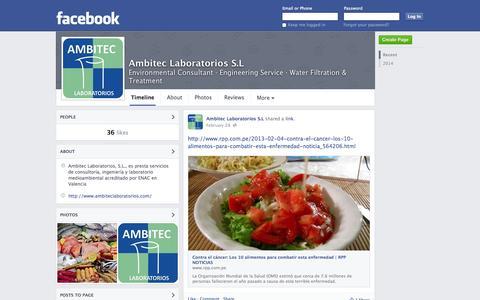 Screenshot of Facebook Page facebook.com - Ambitec Laboratorios S.L - Valencia - Environmental Consultant, Engineering Service | Facebook - captured Oct. 23, 2014