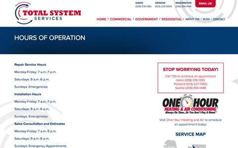Screenshot of Hours Page tsshvac.com - Total System Services / Hours of Operation - captured Feb. 15, 2016
