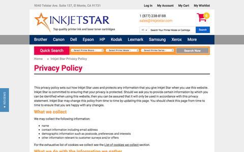 Screenshot of Privacy Page inkjetstar.com - Inkjet Star Privacy Policy - captured Aug. 23, 2016