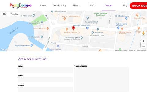 Screenshot of Contact Page puzzlescapehudson.com - Contact - captured Nov. 2, 2018