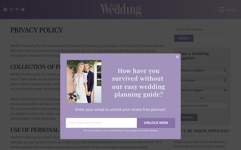 Screenshot of Privacy Page modernwedding.com.au - Privacy Policy - Modern Wedding - captured Oct. 18, 2018