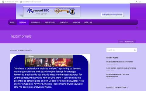 Screenshot of Testimonials Page keywordseopro.com - Testimonials - Keyword SEO Pro Program - captured Oct. 27, 2014