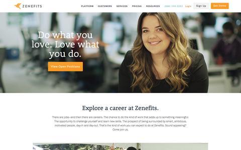 Screenshot of Jobs Page zenefits.com - Careers | Zenefits - captured Dec. 13, 2016
