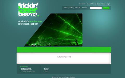 Screenshot of Home Page frickinlaserbeams.com.au - Laser Light - Laser Lighting - Laser Show | frickin' laser beams - captured Sept. 30, 2014