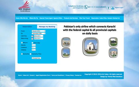 Screenshot of Home Page airindus.com.pk - Welcome to Air Indus Airline (PVT) Ltd. - captured Sept. 28, 2015