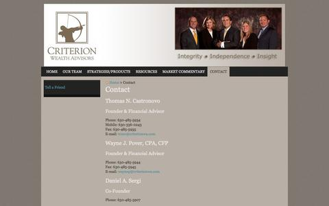 Screenshot of Contact Page criterionwa.com - Contact | Criterion Wealth Advisors, LLC - captured Oct. 3, 2014