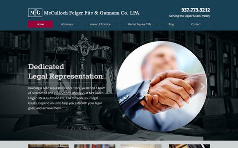 Screenshot of Home Page mffg.net - McCulloch Felger Fite & Gutmann Co. LPA. General Law Piqua OH - captured Feb. 12, 2016