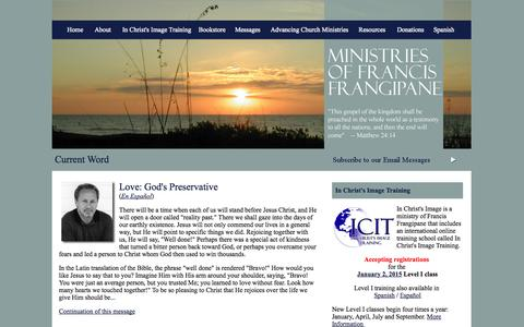 Screenshot of Home Page frangipane.org - Ministries of Francis Frangipane - captured Oct. 4, 2014