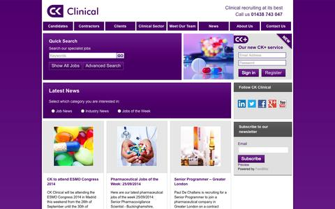 Screenshot of Press Page ckclinical.co.uk - CK to attend ESMO Congress 2014 | CK Clinical - captured Sept. 26, 2014