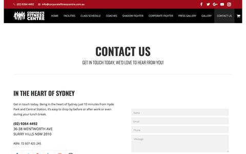 Screenshot of Contact Page corporatefitnesscentre.com.au - CONTACT US - Corporate Fitness Centre - captured July 22, 2018