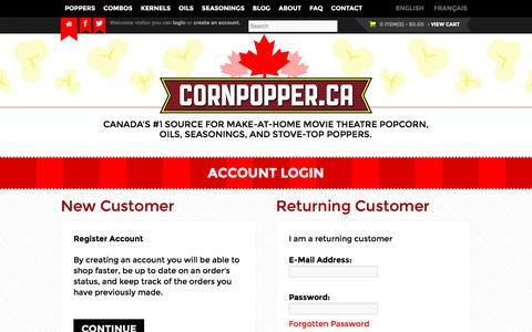 Screenshot of Login Page cornpopper.ca - Account Login | CornPopper.ca - captured Nov. 11, 2016