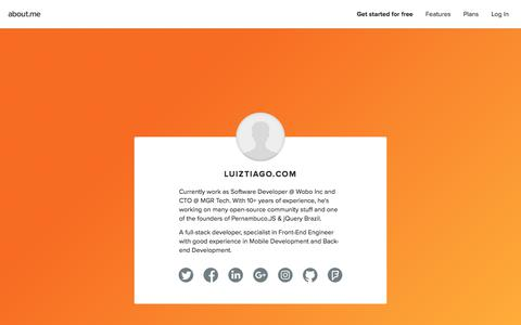 Screenshot of About Page about.me - LuizTiago.com | about.me - captured March 5, 2018