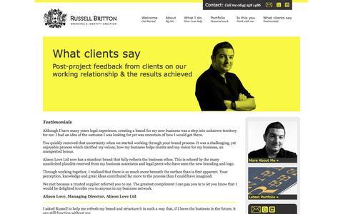 Screenshot of Testimonials Page russell-britton.com - Russell Britton - Testimonials - captured Oct. 9, 2014