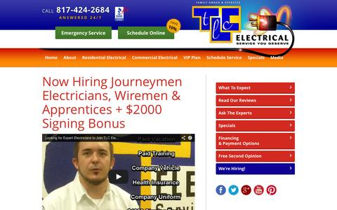 Screenshot of Jobs Page tlcelectrical.com - Now Hiring Journeymen Electricians, Wiremen & Apprentices + $2000 Signing Bonus - TLC Electrical - captured Oct. 27, 2014