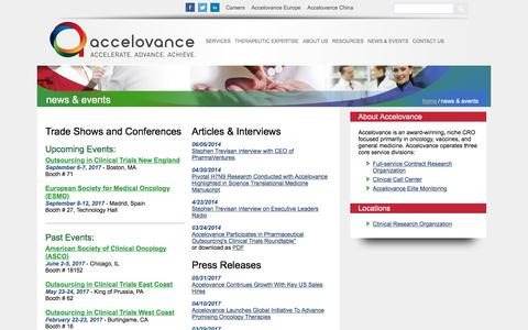 Screenshot of Press Page accelovance.com - Company News & Events | Accelovance - captured Oct. 7, 2017
