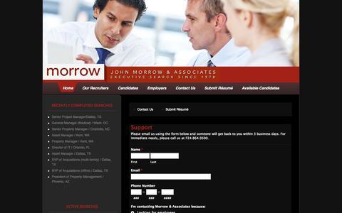 Screenshot of Support Page morrowassociates.com - Morrow & Associates  » Support - captured Oct. 25, 2014