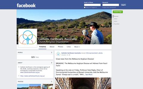 Screenshot of Facebook Page facebook.com - Catholic Earthcare Australia | Facebook - captured Oct. 22, 2014