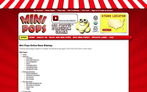 Screenshot of Site Map Page myminipops.com - Mini Pops Online Store Sitemap - captured Oct. 1, 2014