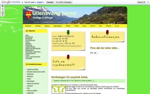 Screenshot of Home Page ullensvang.herad.no - Heim - captured Oct. 4, 2014