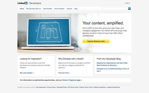 Screenshot of Developers Page linkedin.com captured Oct. 10, 2014