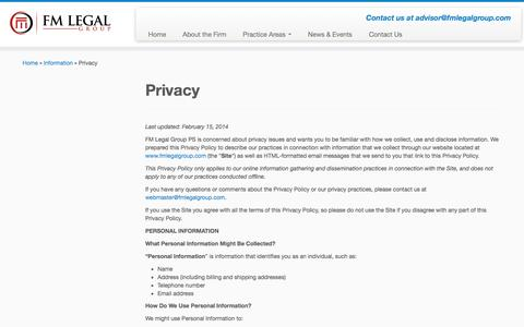 Screenshot of Privacy Page fmlegalgroup.com - Privacy | FM Legal Group - captured Oct. 5, 2014