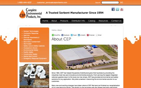 Screenshot of About Page cepsorbents.com - About | CEP Sorbents, Inc. - captured Jan. 30, 2016