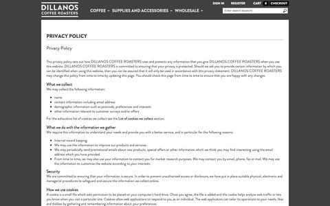 Screenshot of Privacy Page dillanos.com - Privacy Policy - captured Nov. 20, 2018