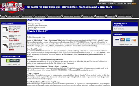 Screenshot of Privacy Page Support Page Terms Page blankgunarmory.com - Customer Service - captured March 13, 2016
