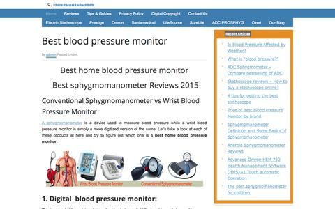 Screenshot of Home Page sphygmomanometerreviews.com - Best manual and digital Sphygmometer - captured Oct. 10, 2015