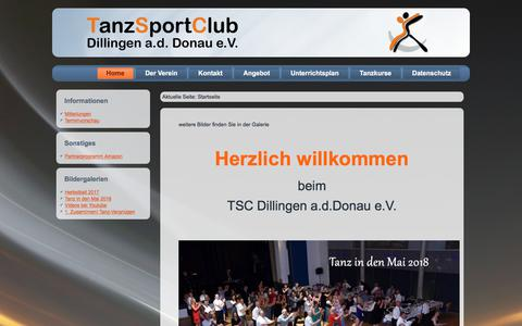 Screenshot of Home Page tsc-dillingen.de - Tanzsportclub Dillingen a.d.Donau e.V. - Home - captured July 5, 2018