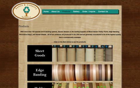 Screenshot of Products Page sveneers.com - Products | Wood Veneers, Dyed Veneers, Wood veneer sheets, Edge banding, domestic veneers, hobby packs - captured Oct. 4, 2014