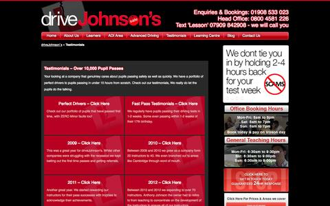 Screenshot of Testimonials Page drivejohnsons.co.uk - Reviews and testimonials - captured Sept. 30, 2014