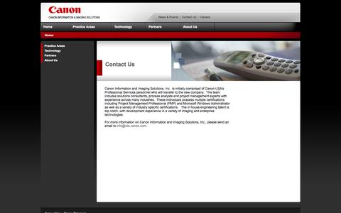 Screenshot of Contact Page canon.com - Canon Information and Imaging Solutions Inc. - captured Sept. 19, 2014
