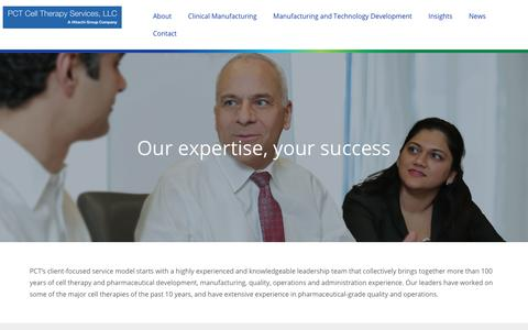 Screenshot of Team Page pctcelltherapy.com - Leadership | PCT Cell Therapy Services - captured Sept. 9, 2017