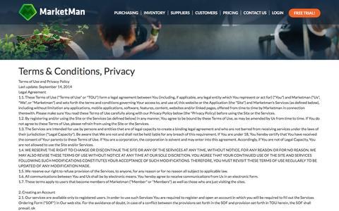 Screenshot of Privacy Page marketman.biz - Restaurant Inventory Management - Privacy - captured Jan. 9, 2016