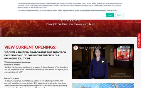Screenshot of Jobs Page outlookgroup.com - Careers | Outlook Group - captured Nov. 16, 2018