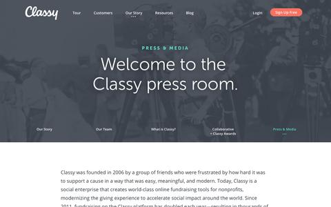 Screenshot of Press Page classy.org - Classy news page for press coverage and media kit | Classy - captured Feb. 28, 2018
